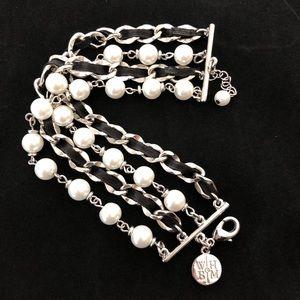 WHBM Silver 4 Strand Chain Ribbon Pearl Bracelet